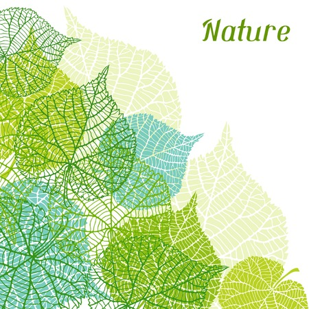 Background of stylized green leaves. Stock Illustratie