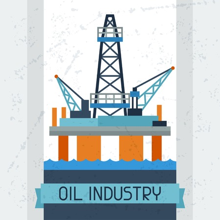 naphtha: Oil platform in sea background.