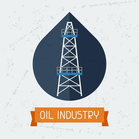 naphtha: Oil derrick in oilfield background.