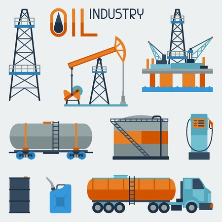 derrick: Industrial set of oil and petrol icon. Illustration