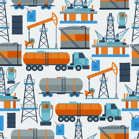 combustible: Industrial seamless pattern with oil and petrol icons. Illustration