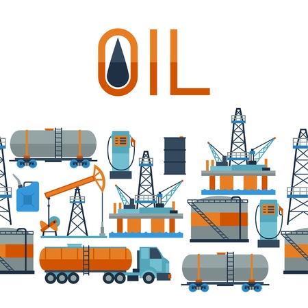oilwell: Industrial seamless pattern with oil and petrol icons. Illustration