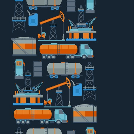 barrel tile: Industrial seamless pattern with oil and petrol icons. Illustration