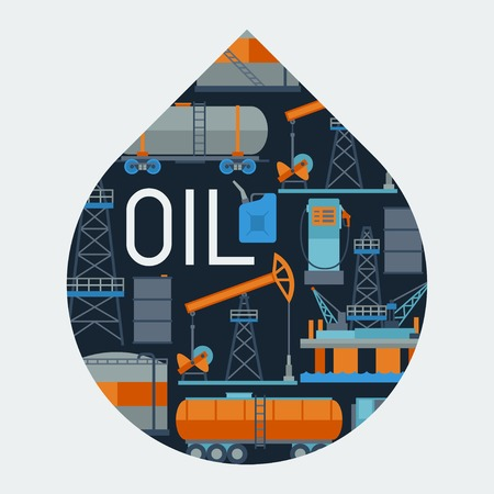 oilwell: Industrial background design with oil and petrol icons.