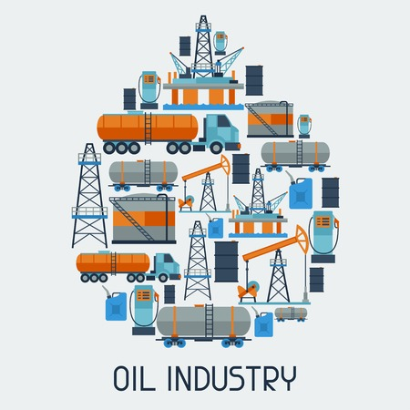 derrick: Industrial background design with oil and petrol icons.