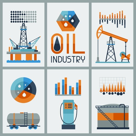 oilwell: Industrial infographic design with oil and petrol icons.