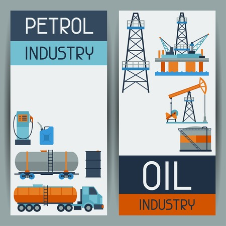 oil barrel: Industrial banners design with oil and petrol icons.