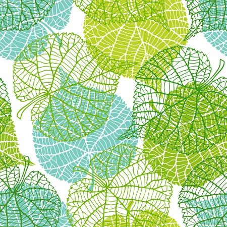 Naadloze natuur patroon met groene bladeren. Stock Illustratie