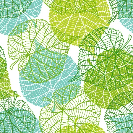 Seamless nature pattern with green leaves.