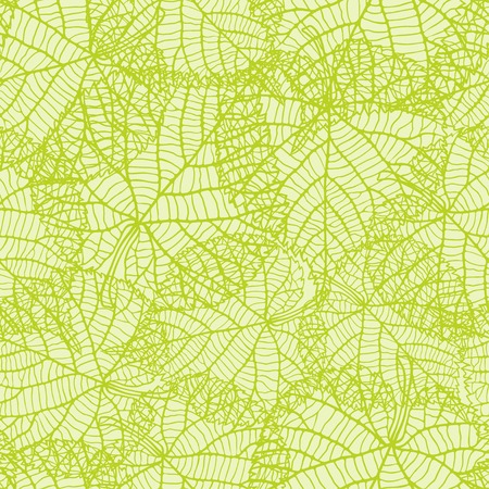 leaf vein: Seamless nature pattern with green leaves.