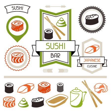 soy sauce: Badges and labels set with various sushi. Illustration