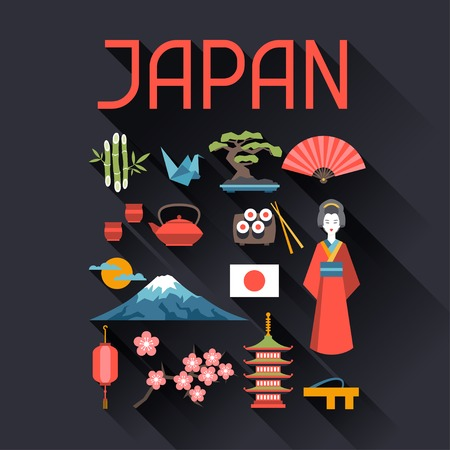 national culture: Japan icons and symbols set.