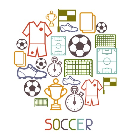 soccer field: Sports background with soccer football symbols.
