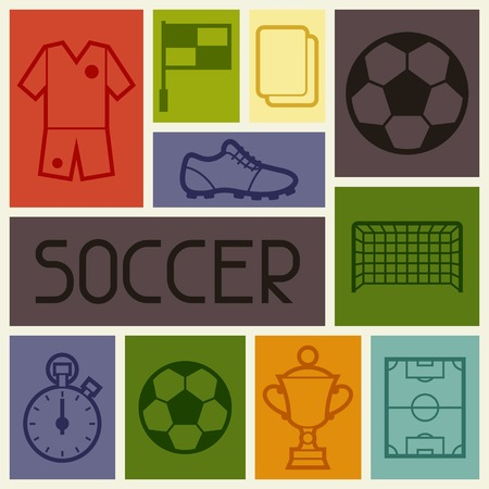soccer shoes: Sports background with soccer football symbols.