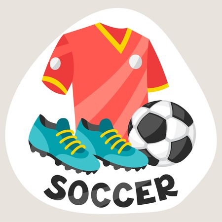 sporting event: Sports background with soccer symbols.