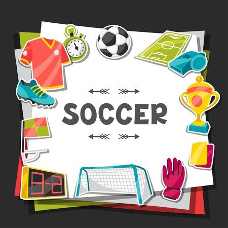 sporting event: Sports background with soccer sticker symbols.