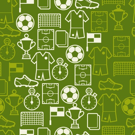 Sports seamless pattern with soccer symbols. Vector
