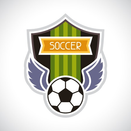 badge shield: Sports illustration soccer football badge.