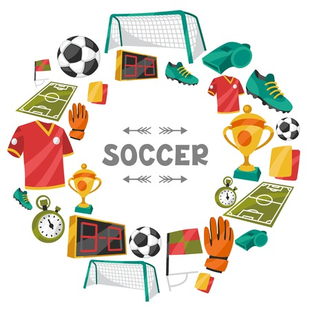 soccer game: Sports background with soccer football symbols.