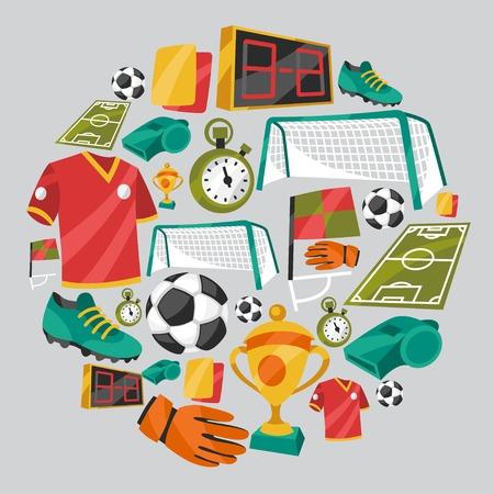 zapatos escolares: Deporte de fondo con símbolos de fútbol soccer.
