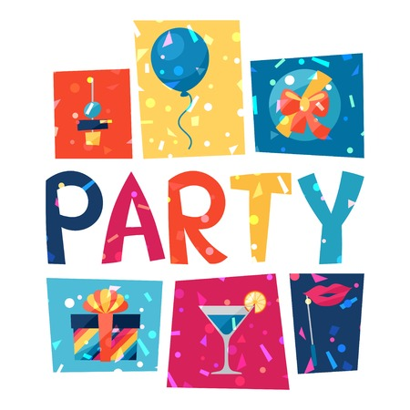 carnival border: Celebration party poster with shiny confetti.
