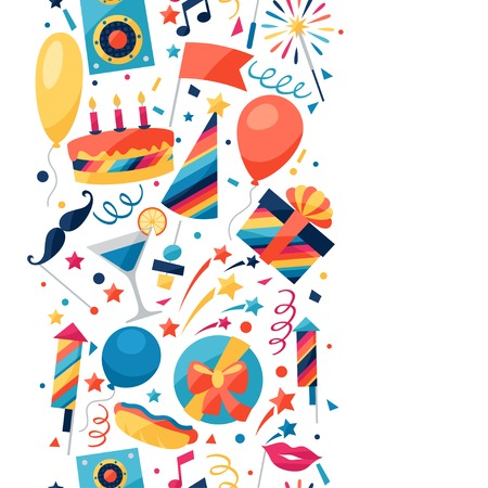 celebration party: Celebration seamless pattern with party icons and objects.