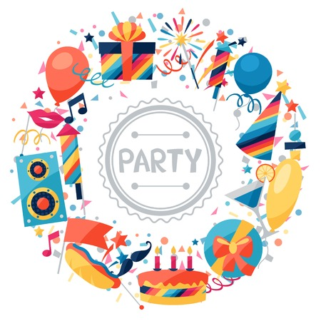 celebration party: Celebration background with party icons and objects. Illustration