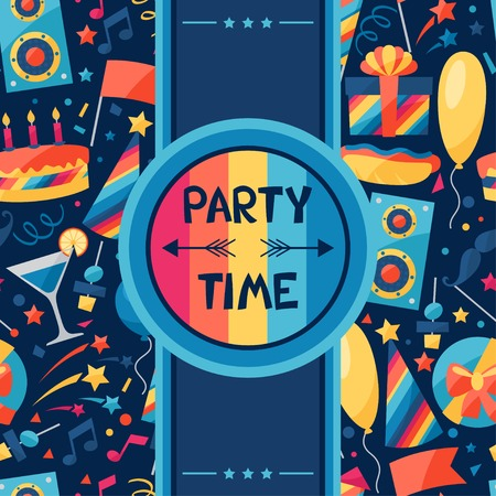 Celebration background with party icons and objects. Vector