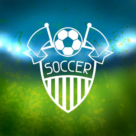sporting event: Sports label with soccer symbols.