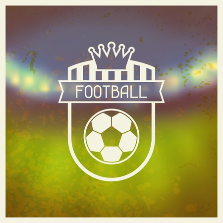 crown of light: Sports label with football symbols. Illustration
