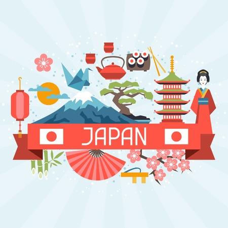 日本背景設計。 向量圖像