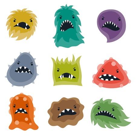 Ensemble de petits virus et des monstres en colère.