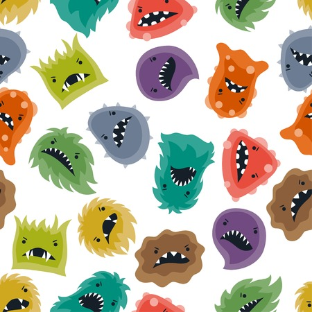 fantasy alien: Seamless pattern with little angry viruses and monsters.