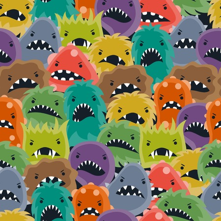Seamless pattern with little angry viruses and monsters. Vector