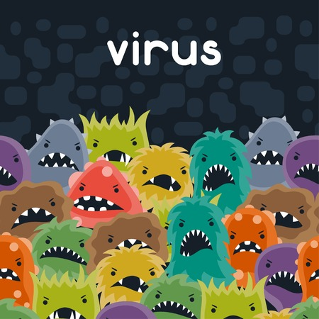 bizarre: Background with little angry viruses and monsters.