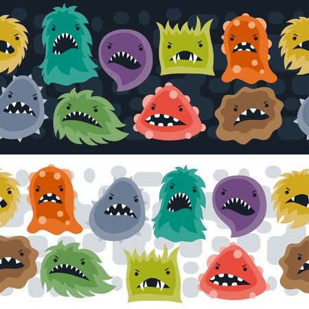 halloween pattern: Seamless pattern with little angry viruses and monsters.