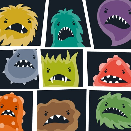 microbial: Set of little angry viruses and monsters.