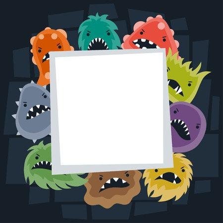 microbial: Background with little angry viruses and monsters.