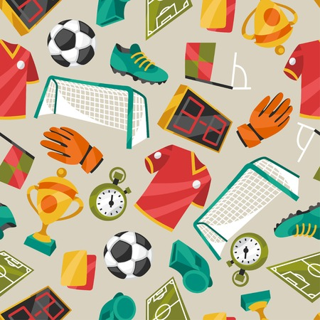 Sports seamless pattern with soccer football symbols. Vector