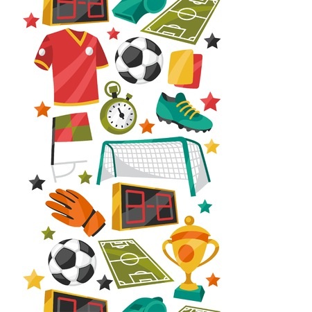 football shoes: Sports seamless pattern with soccer football symbols.