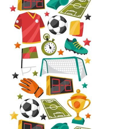 school sport: Sports seamless pattern with soccer football symbols.