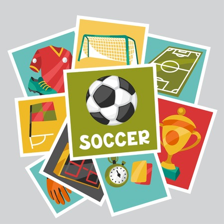 card game: Sports background with soccer football symbols.