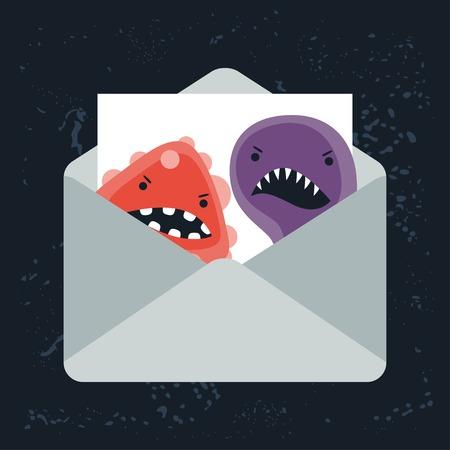 virus alert: Abstract illustration email spam virus infection. Illustration