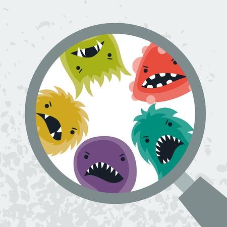 Achtergrond met een beetje boos virussen en vergrootglas. Stock Illustratie
