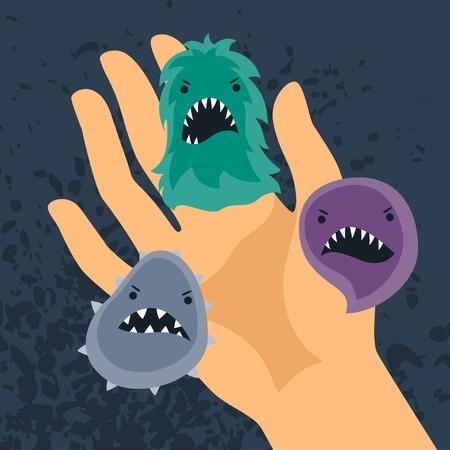 manos limpias: Fondo con pequeños virus de enojo y de la mano.