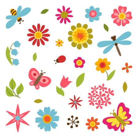 bee party: Natural set of beautiful flowers, beetles and butterflies. Illustration