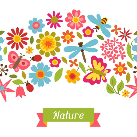 bee party: Natural pattern with beautiful flowers, beetles and butterflies.