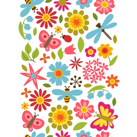Natural pattern with beautiful flowers, beetles and butterflies. Vector