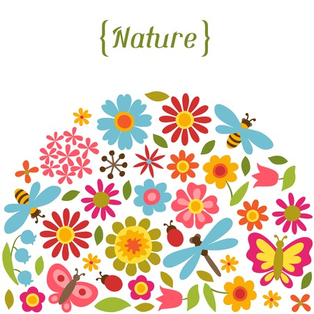 bee party: Natural card with beautiful flowers, beetles and butterflies.