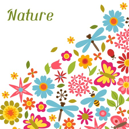 plants and flowers: Natural card with beautiful flowers, beetles and butterflies.